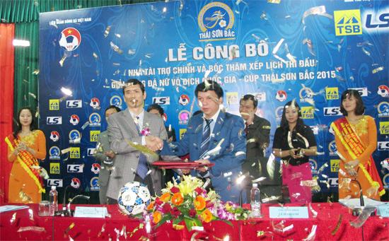 Lễ công bố nhà tài trợ chính và bốc thăm xếp lịch giải bóng đá nữ VĐQG Cúp Thái Sơn Bắc 2015