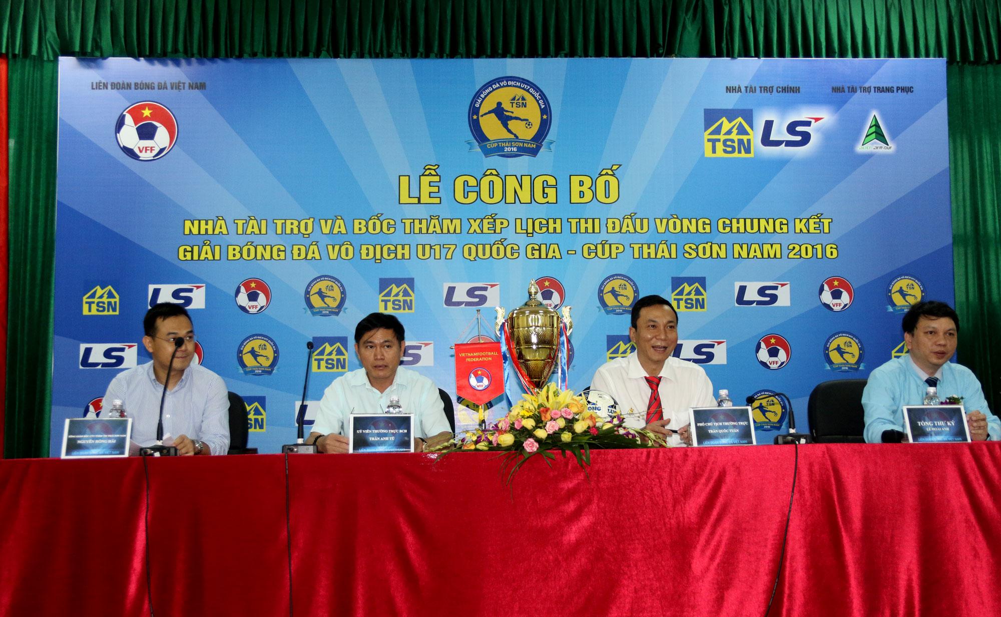 Công bố Nhà tài trợ và bôc thăm xếp lịch thi đấu VCK U17 Quốc Gia - Cúp Thái Sơn Nam 2016