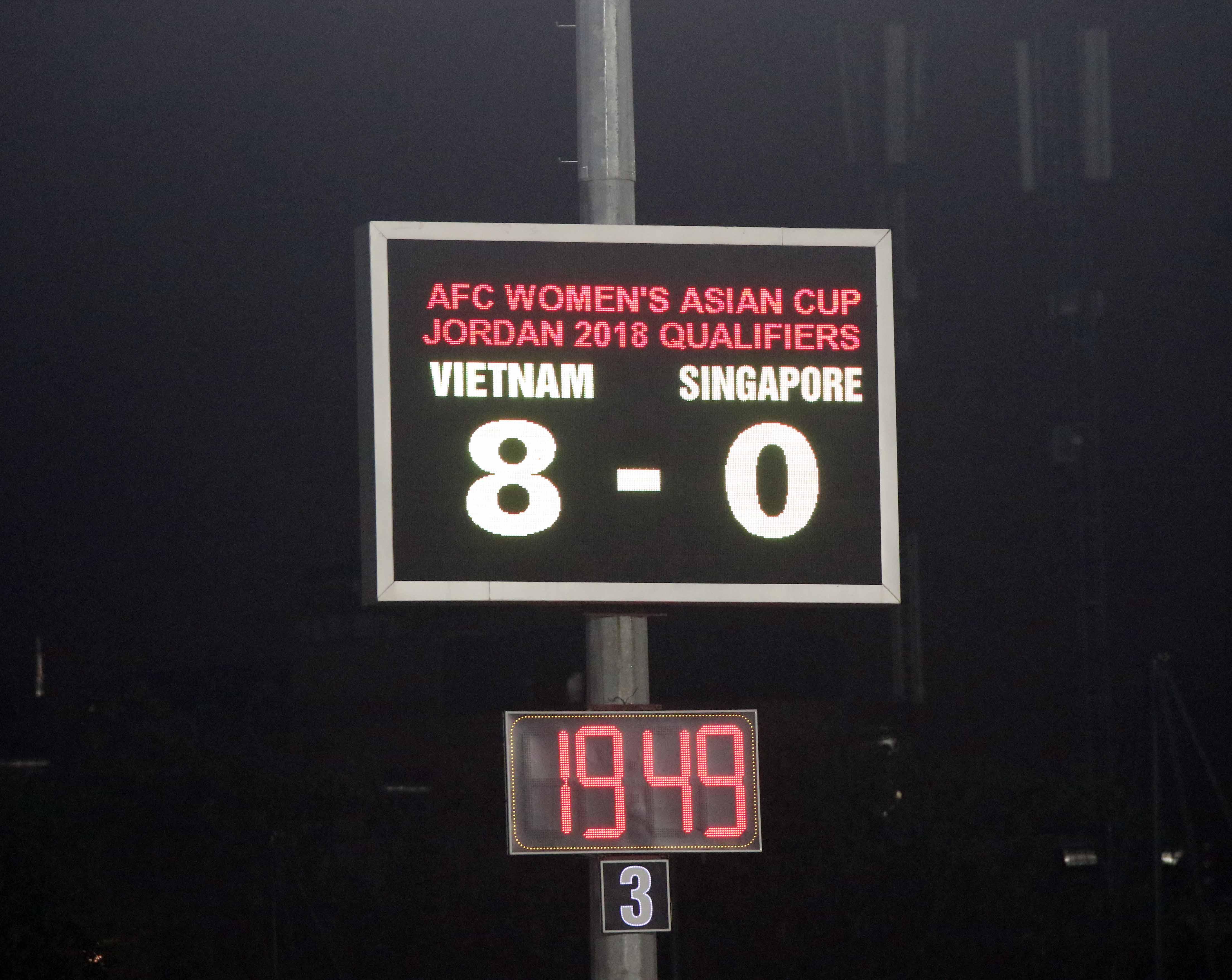 Album ảnh trận đấu giữa đội tuyển Nữ Vệt Nam - Singapore tại vòng loại bản D giải bóng đá Nữ Asian C