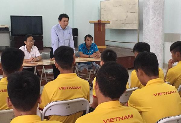 Lãnh đạo VFF động viên ĐT U16 Việt Nam trước ngày lên đường dự VCK châu Á