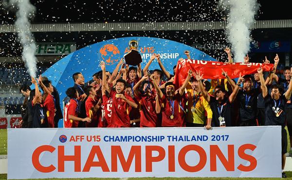 Đánh bại Thái Lan, U15 Việt Nam đăng quang ngôi vô địch Giải U15 AFF 2017