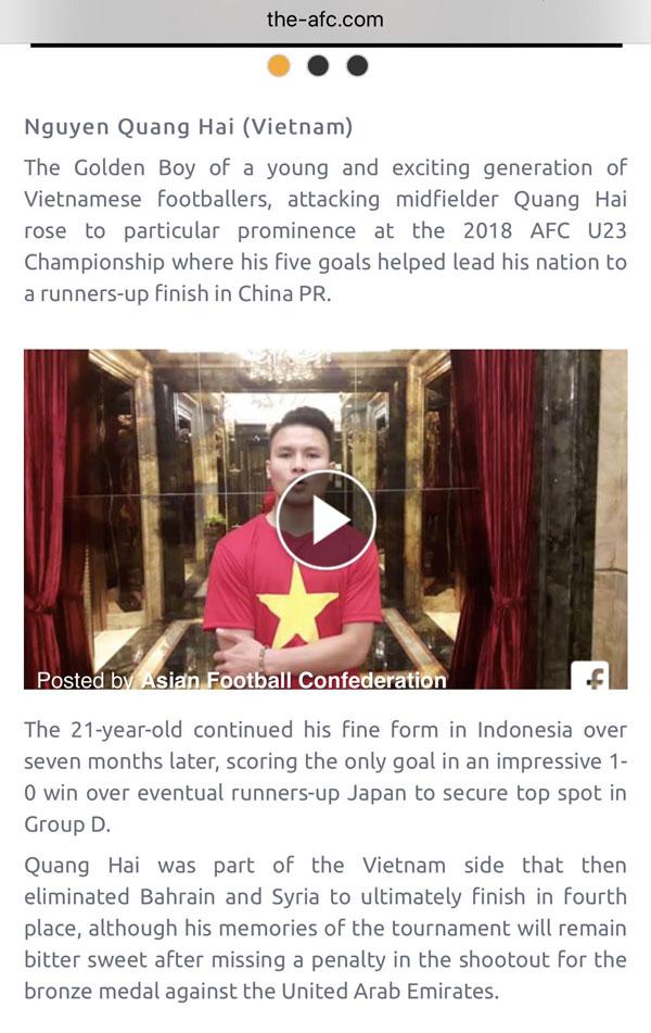 Website AFC gọi Quang Hải là