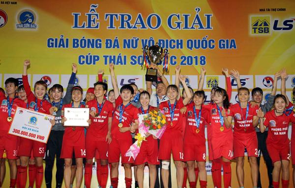 Phong Phú Hà Nam lần đầu tiên lên ngôi Vô địch giải bóng đá nữ VĐQG - Cúp Thái Sơn Bắc 2018