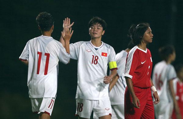 VL thứ nhất U19 nữ châu Á 2019 (bảng E), U19 nữ Việt Nam - U19 nữ Singapore: 11-0
