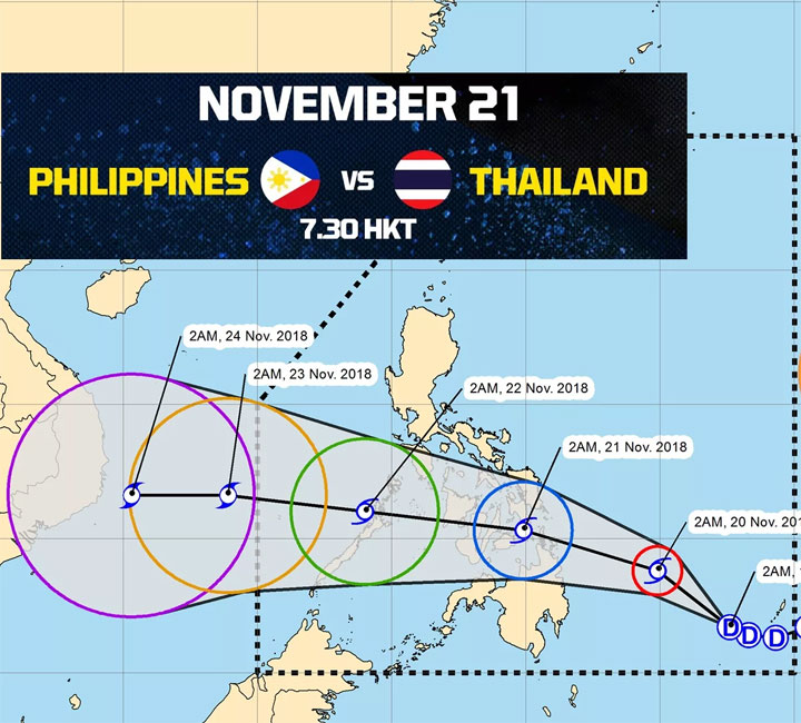 Bão ở Thái Bình Dương đe dọa trận Philippines - Thái Lan