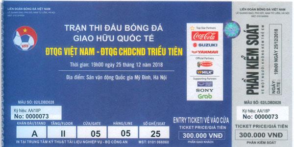 Tiếp tục mở bán vé online trận giao hữu giữa ĐTVN - ĐT CHDCND Triều Tiên đến 22h00 đêm nay (23/12/2018)