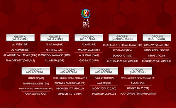 AFC Cup 2019 (bảng G): Lịch thi đấu sơ bộ của CLB B.Bình Dương