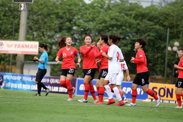 VL 2 giải U19 nữ châu Á 2019 (bảng B): Hàn Quốc phô diễn sức mạnh bằng chiến thắng 9-0 trước Li-Băng