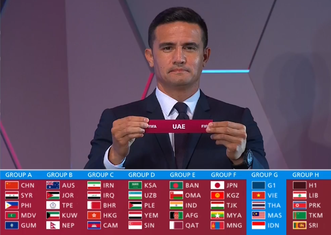 ĐT Việt Nam cùng bảng với UAE, Thái Lan, Malaysia và Indonesia tại Vòng loại 2 World Cup 2022