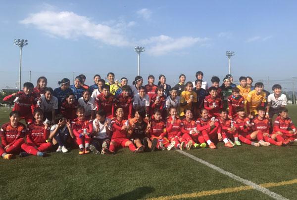 Đấu tập tại Nhật Bản, ĐT nữ Việt Nam vs Shibata-cho (Miyagi Pref): 1-1