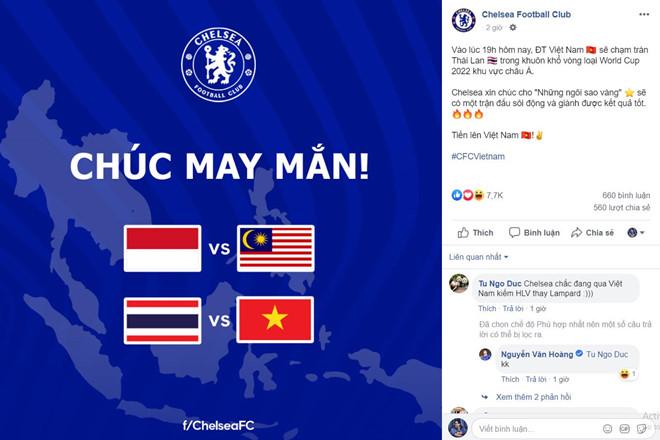 CLB Chelsea chúc tuyển Việt Nam chiến thắng