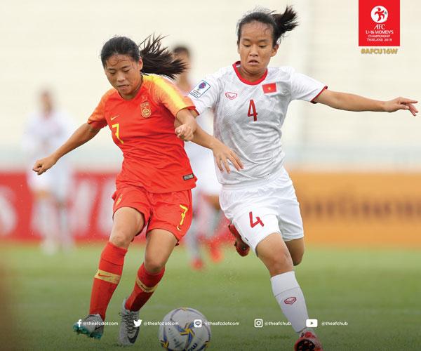 VCK U16 nữ châu Á 2019, bảng B: U16 Việt Nam - U16 Trung Quốc: Tiếc