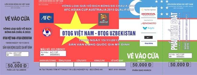 14h30 ngày 12/11 bắt đầu bán vé trận đấu ĐT Việt Nam gặp ĐT Uzbekistan