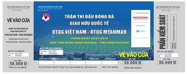 Ngày 28/6 bắt đầu bán vé xem trận giao hữu giữa ĐT Việt Nam và ĐT Myanmar