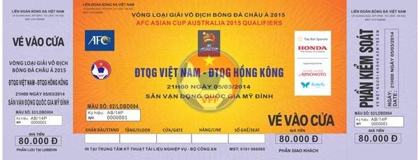 Thông tin về vé xem trận đấu giữa ĐT Việt Nam và ĐT Hong Kong (VL Asian Cup 2015)